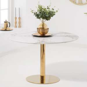 Nevado White Marble Effect Round Dining Table With Gold Legs
