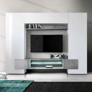 Nevaeh Wall Entertainment Unit In White Gloss And Cement Effect