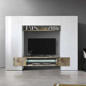 Nevaeh Wall Entertainment Unit In White High Gloss And Pero