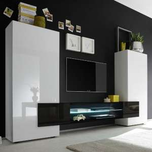 Nevaeh Wooden Large TV Stand In White And Black High Gloss