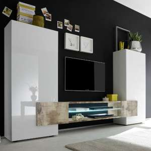 Nevaeh Wooden Large TV Stand In White High Gloss And Pero