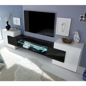 Nevaeh Wooden TV Stand In White And Black High Gloss