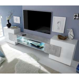 Nevaeh Wooden TV Stand In White High Gloss And Cement Effect
