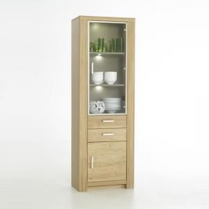 Nevara Wooden Right Display Cabinet In Bianco Oak With LED