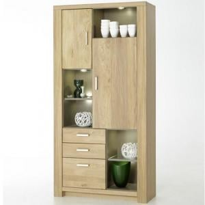 Nevara Wooden Wide Display Cabinet In Bianco Oak With LED