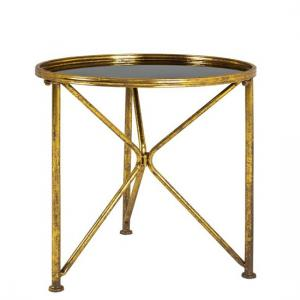 Neve Glass End Table Wide In Black With Antique Gold Frame