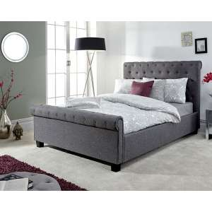 Neven Fabric Ottoman Storage Double Size Bed In Grey