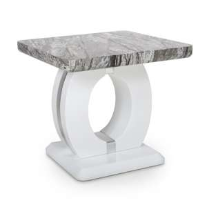 Neville Marble Gloss Effect Side Table With White Base