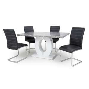 Neville Gloss Marble Effect Dining Table With 4 Black Chairs