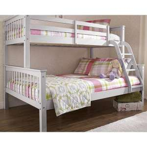 New Novaro Solid Pine Trio Bunk Bed In Grey