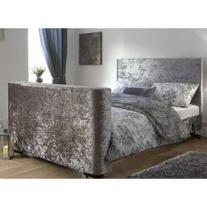Newark Crushed Velvet King Size Electric TV Bed In Silver