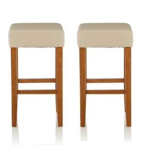 Newark Bar Stools In Cream PU And Oak Legs In A Pair