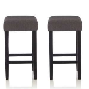 Newark Bar Stools In Dark Grey Fabric And Black Legs In A Pair