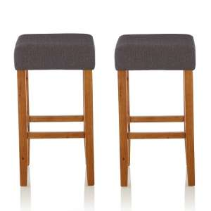 Newark Bar Stools In Dark Grey Fabric And Oak Legs In A Pair