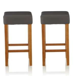 Newark Bar Stools In Grey PU And Oak Legs In A Pair