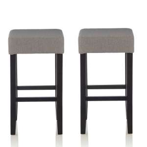 Newark Bar Stools In Light Grey Fabric And Black Legs In A Pair