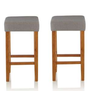 Newark Bar Stools In Light Grey Fabric And Oak Legs In A Pair
