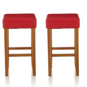 Newark Bar Stools In Red PU And Oak Legs In A Pair