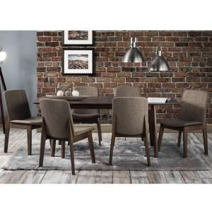 Newbury Wooden Extending Dining Table In Walnut With 4 Chairs