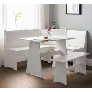 Newport Corner Dining Set In Surf White With Storage Bench
