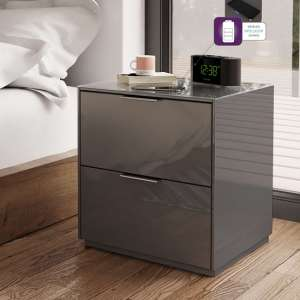 Nexus Bedside Cabinet In Grey High Gloss With Two Drawers