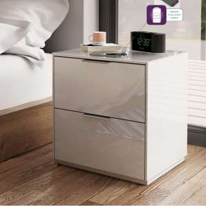 Nexus Bedside Cabinet In White High Gloss With Two Drawers