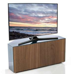 Nexus Corner TV Stand In Grey Gloss Walnut Wireless Charging