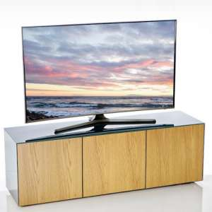 Nexus Large TV Stand In Grey Gloss Oak And Wireless Charging