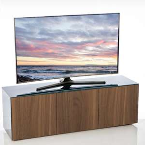 Nexus Large TV Stand In Grey Gloss Walnut And Wireless Charging
