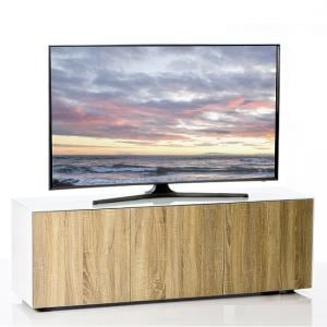 Nexus Large TV Stand In White Gloss Oak With Wireless Charging