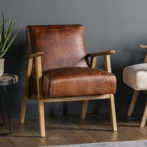 Neyland Faux Leather Armchair In Vintage Brown