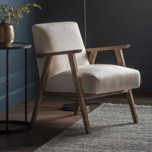 Neyland Linen Upholstered Armchair In Natural