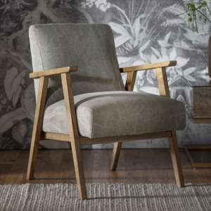 Neyland Linen Upholstered Armchair In Pebble
