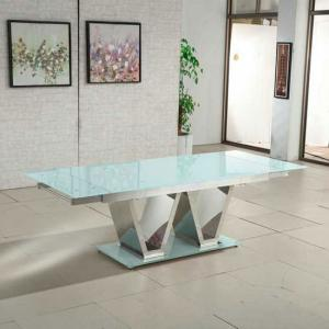 Nico Extending Glass Dining Table In White With Chrome Base
