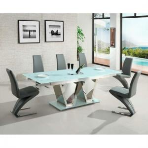 Nico Extending Glass Dining Table In White And 6 Grey Chairs