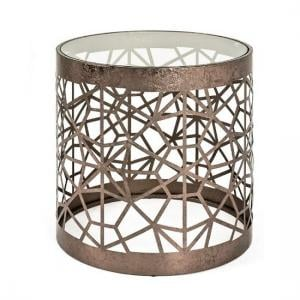 Nicole Glass Side Table Round In Clear With Antique Bronze Frame