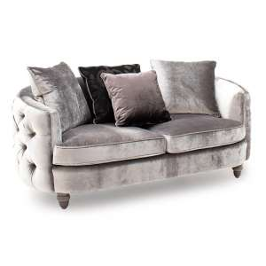 Nicolette Velvet 2 Seater Sofa In Pewter With Scatter Cushions