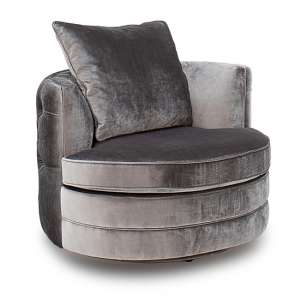Nicolette Velvet Swivel Chair In Pewter