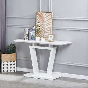 Nicolo Rectangular Console Table In White High Gloss