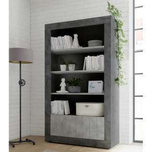 Nitro 2 Doors 3 Shelves Bookcase In Oxide And Cement Effect