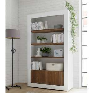 Nitro 2 Doors 3 Shelves Bookcase In White Gloss And Dark Walnut