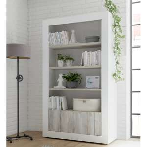Nitro 2 Doors 3 Shelves Bookcase In White Gloss And White Pine