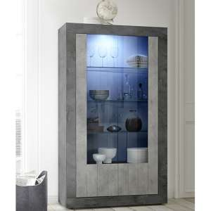 Nitro 2 Doors LED Display Cabinet In Oxide And Cement Effect
