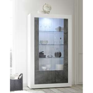 Nitro 2 Doors LED Display Cabinet In White Gloss And Oxide