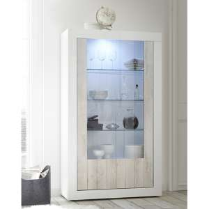 Nitro 2 Doors LED Display Cabinet In White Gloss And White Pine