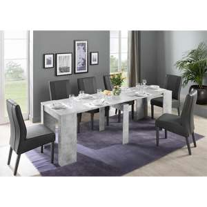 Nitro Extending Cement Effect Dining Table With 8 Miko Chairs