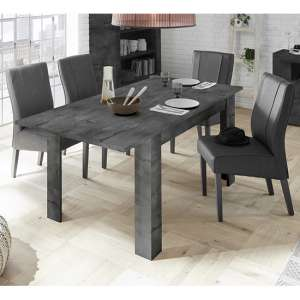 Nitro Extending Oxide Dining Table With 6 Miko Anthracite Chairs