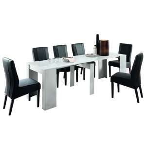 Nitro Extending White High Gloss Dining Table With 8 Miko Chairs