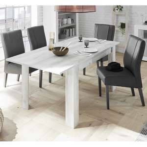 Nitro Extending White Pine Dining Table With 6 Miko Chairs