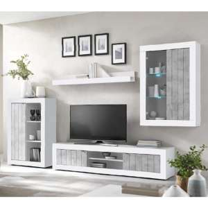 Nitro LED Living Room Set In White High Gloss And Cement Effect